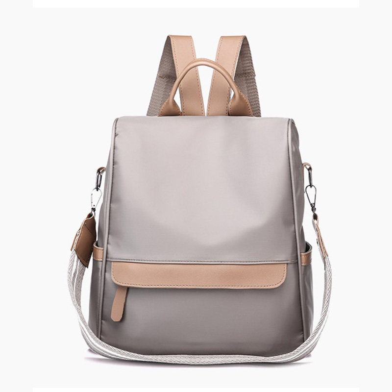 Solid Color Schoolbag For Student Girl Fashion Simple Layout Design Women Backpack Rucksack