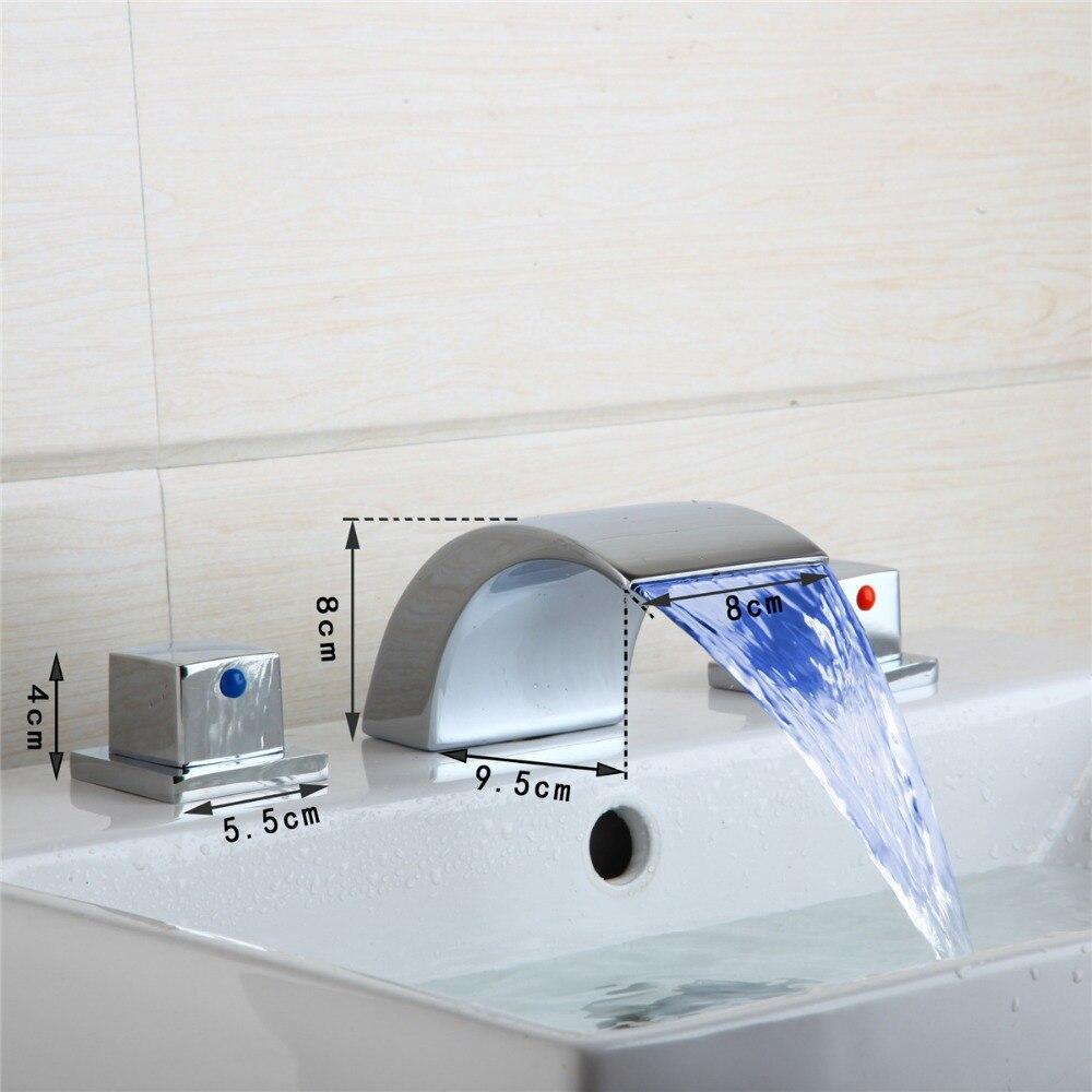 ФОТО Modern LED Light Brass Chrome Bath Shower Faucet Spout Deck Mount Bathroom Faucet Two Handle Bathroom Faucets
