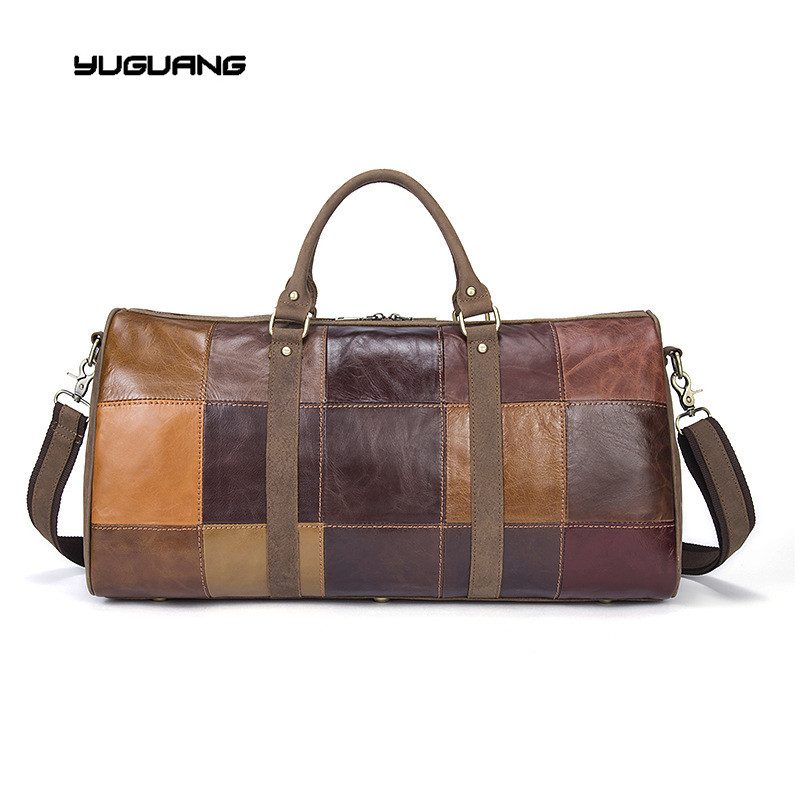 Men's leather brand stitching bags, large capacity first layer leather, travel bags, luggage bags, business bags