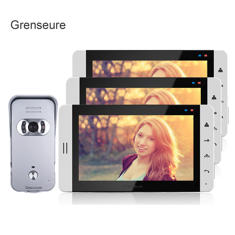 FREE SHIPPING Home Wired 7 Color TFT Video Doorphone Intercom System + 3 Touch White Monitor + Waterproof Door Camera IN STOCK free shipping wired 7 tft color video door phone intercom system 1 white monitor 1 metal waterproof door camera in stock