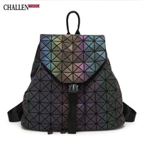 CHALLEN New Rubik Night Light Backpack Woman Geometric Quilted Double Shoulder Pack Fashionable Female PVC Student