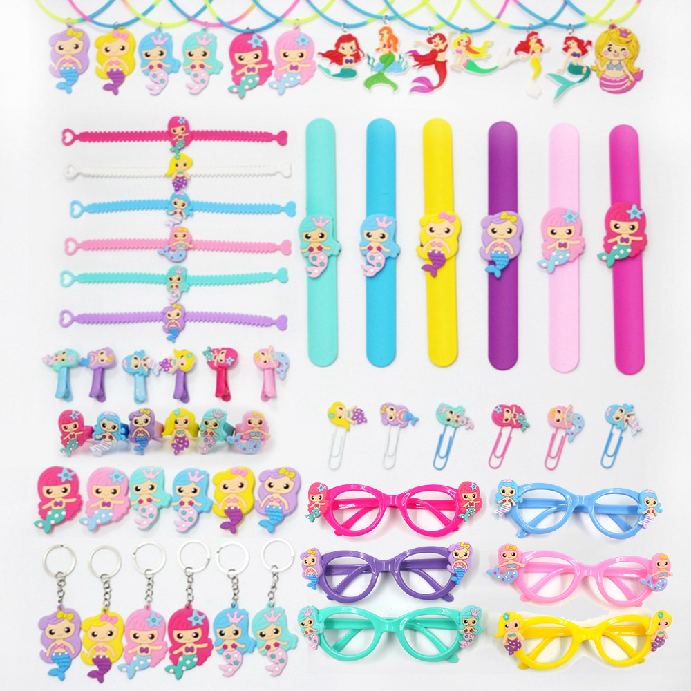Little Mermaid Party Supplies Mermaid Bracelet Ring Necklace Keychain Birthday Party Decorations Kids Baby Shower Party Favors