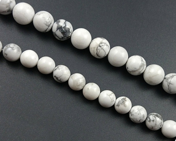 "Natural White Howlite Round Loose Beads Strand 15/"" Gemstones 4mm 6mm 8mm 10mm"