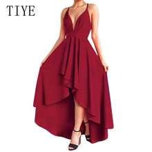 TIYE Open Back Sexy Spaghetti Strap Deep V-neck Asymmetrical Dress Elelgant Sleeeveless Hollow Out Summer Prom Gowns Wear