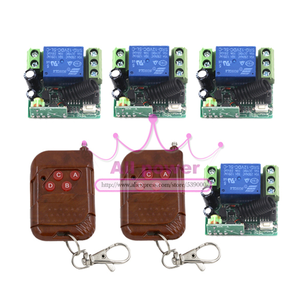 NEW! DC12V 4 Relay CH Momentary Toggle Latched RF Remote Control Switch System . Wireless Receiver&Transmitter LED SMD ON OFF wireless switch rf wireless remote control switch system 3 transmitter 4 receiver switch 12v 10a 1ch toggle momentary latched