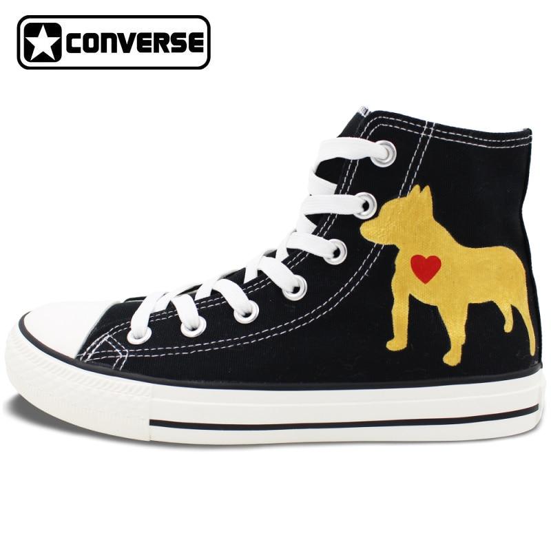 Custom Black Converse Chuck Taylor Hand Painted Shoes Pet Dog Pitbull High Top Canvas font b