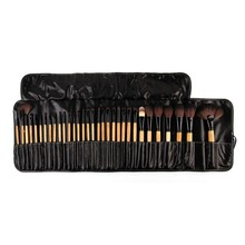 32 PCS Pro Makeup Cosmetic Brushes Wood Brushes Kit Brush Set in Pouch Case