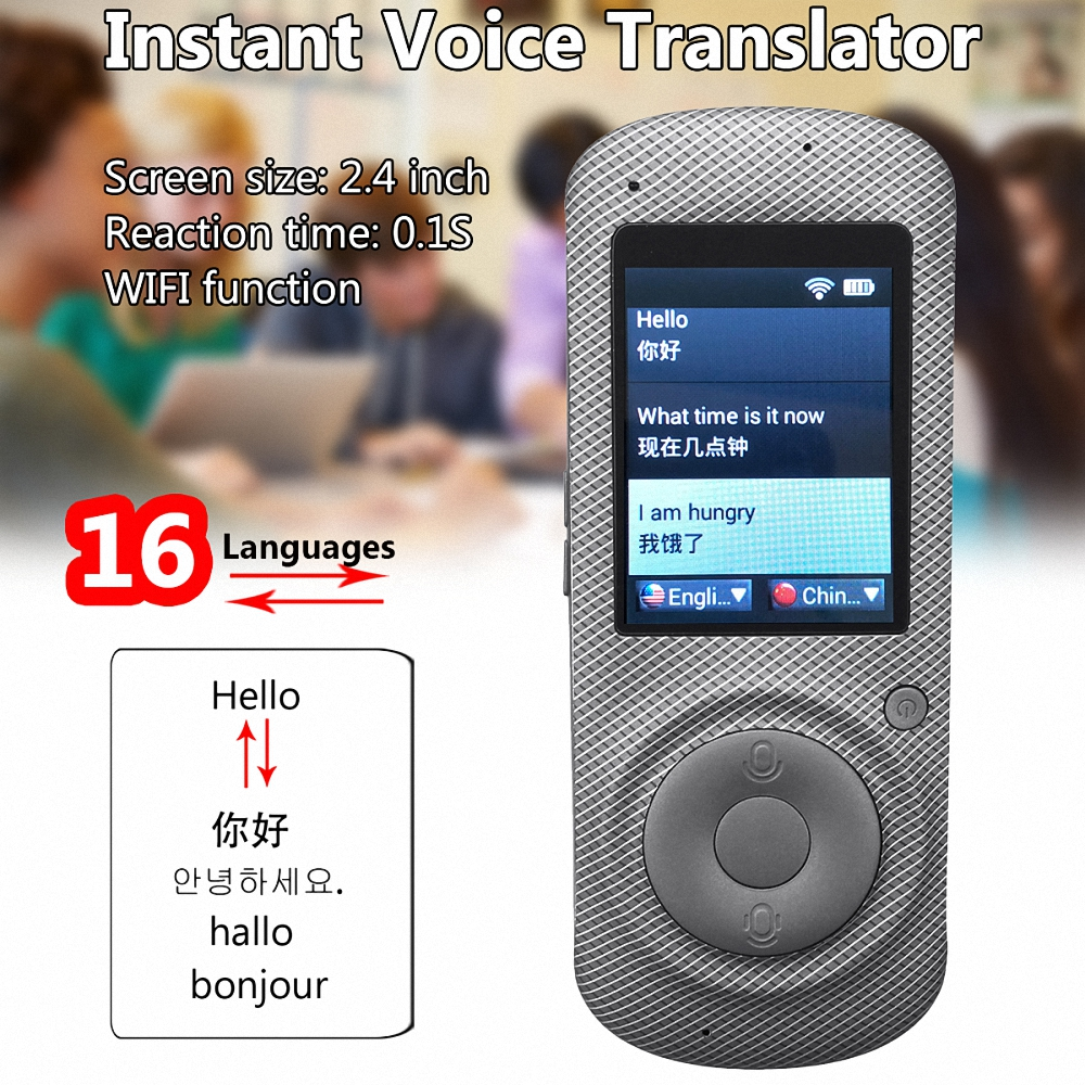 New Arrival 2.4 Inch Portable WiFi Smart Language Voice Translator Device 45 Languages Instant Voice Translation Travel Meeting