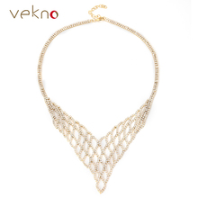 VEKNO V Shape Charm Mesh Crystal Choker Collar Cocktail Bib Necklace 90s Fashion Women Bridal Jewelry Chunky Necklaces