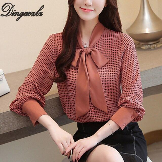 9425166facbd4 Dingaozlz impreso Blusa de gasa nuevo coreano elegante mujer arco costura gasa  camisa de ropa casual