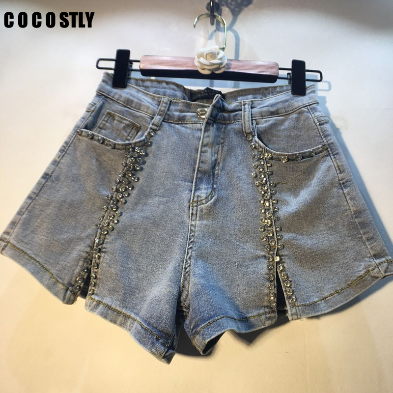 Diamonds Split Denim Shorts Women High Waist Jeans Shorts Modis Korean Short Femme 2019 Summer Wide Leg Short Feminino