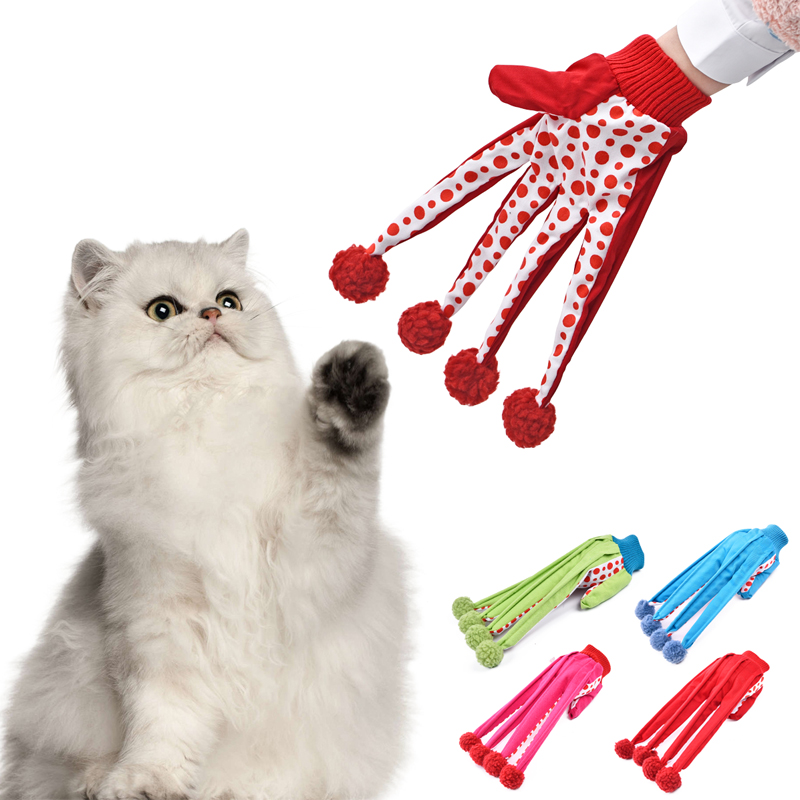 Interaktiv Toy Lovely Ball Pet Rolig Toy Söt Polka Dot Kattleksaker Scratch Glove Toy 4 Colors Crazy Loving for Kitten Scratcher