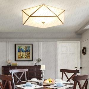 Image 2 - מודרני LED נחושת אקריליק זכוכית תקרת אורות דקורטיבי תאורת מסדרון חדר שינה סלון רטרו E27 מנורות עם