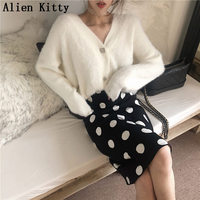 Alien Kitty Autumn Winter Stylish Warm Sweater Women Cardigans Solid Long Sleeve Knitted Casual Outerwear High Quality Sweaters