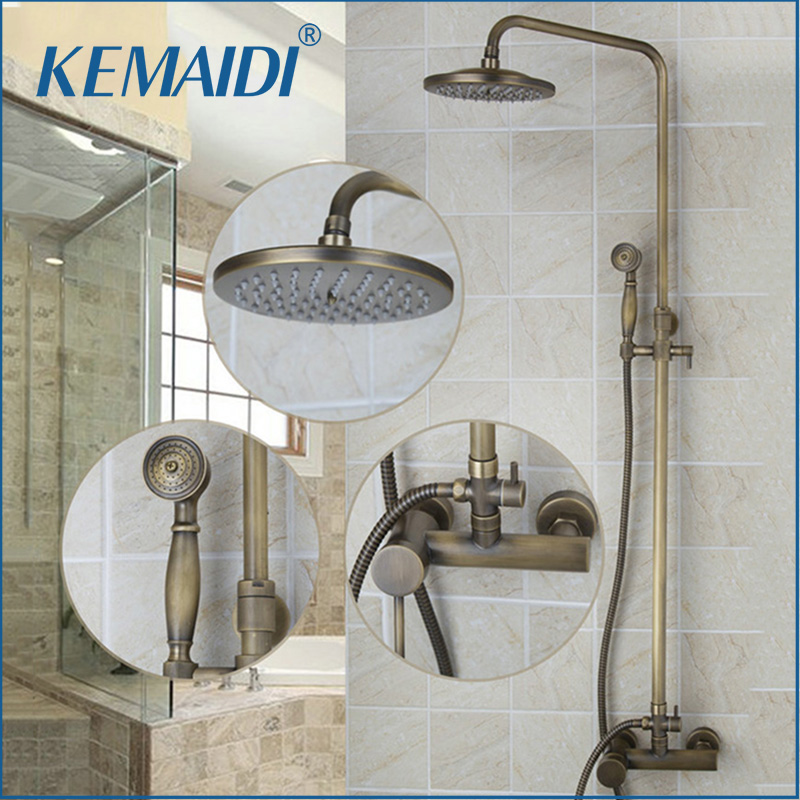 KEMAIDI 8 Showerhead Bathroom Faucet Antique Brass Waterfall Shower Set Hot&Cold Mixers Tap Wall Mounted Rainfall Shower Faucet free shipping polished chrome finish new wall mounted waterfall bathroom bathtub handheld shower tap mixer faucet yt 5333