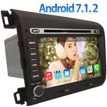 """8 """"Quad Core 4G LTE SIM WIFI Android 7.1.2 Multimedia GPS Navi DAB USB Reproductor de Radio DVD Del Coche para Honda CIVIC 2012 2013"""
