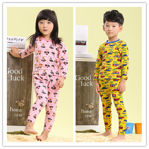 ФОТО Children autumn and winter underwear clothing set 100% cotton sleepwear cartoon style pajamas set kids home wear free shipping