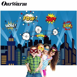Image 1 - OurWarm Superhero Party Photography Backdrop Birthday Party Wall background With Mask Gifts For Kids Birthday Party Decoration