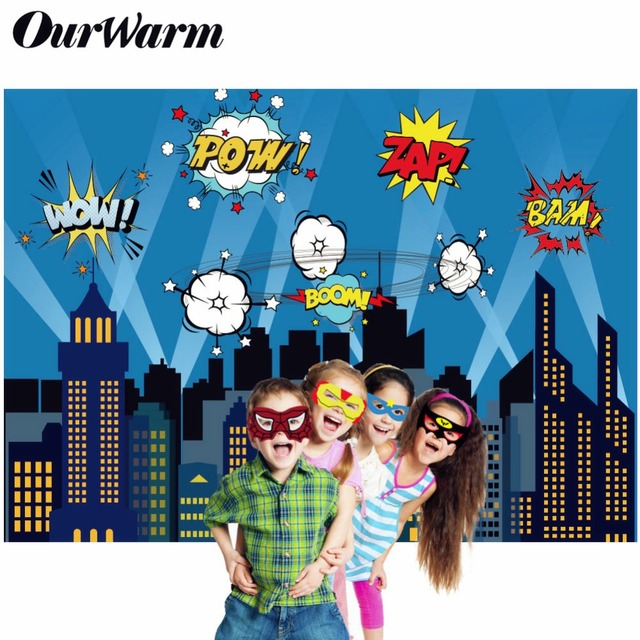 OurWarm Superhero Party Photography Backdrop Birthday Party Wall background With Mask Gifts For Kids Birthday Party Decoration