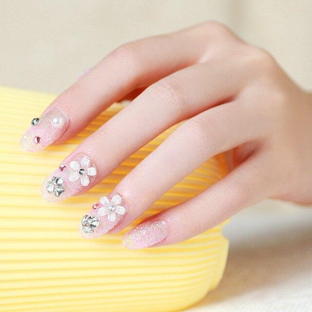 24 Pcs/Set French Bridal Wedding Flowers False Nails Nail Art Design ...