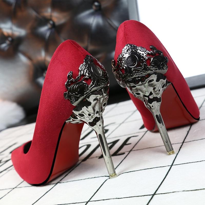 Del Colores khaki gris Alto Stiletto rojo verde oro Cuero rose Las Mental plata Flor Sexy De Negro Bombas Talón Metal Mujeres Tacón 9 Nueva Zapatos Gamuza 2016 rosado gxUqf17Ynw