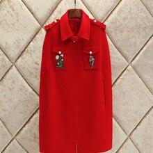 Urumbassa Высокое качество дизайнерский плащ с вышивкой пальто Модные женские винтажные шерстяные пальто английский стиль пальто D625