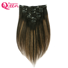 Dreaming Queen Hair 1b/6/1b Piano Color Straight Hair Clip In Brazilian Human Remy Hair 7 Pcs/Set 120g clips in Full Head Sets