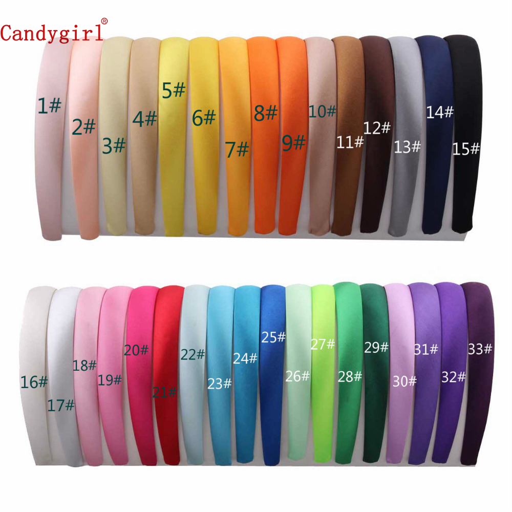 1 lot=33pcs Colored Satin covered Hairbands, 1.5Cm girls' satin Covered Hair headband Adult & Kids headbands(33 colors)