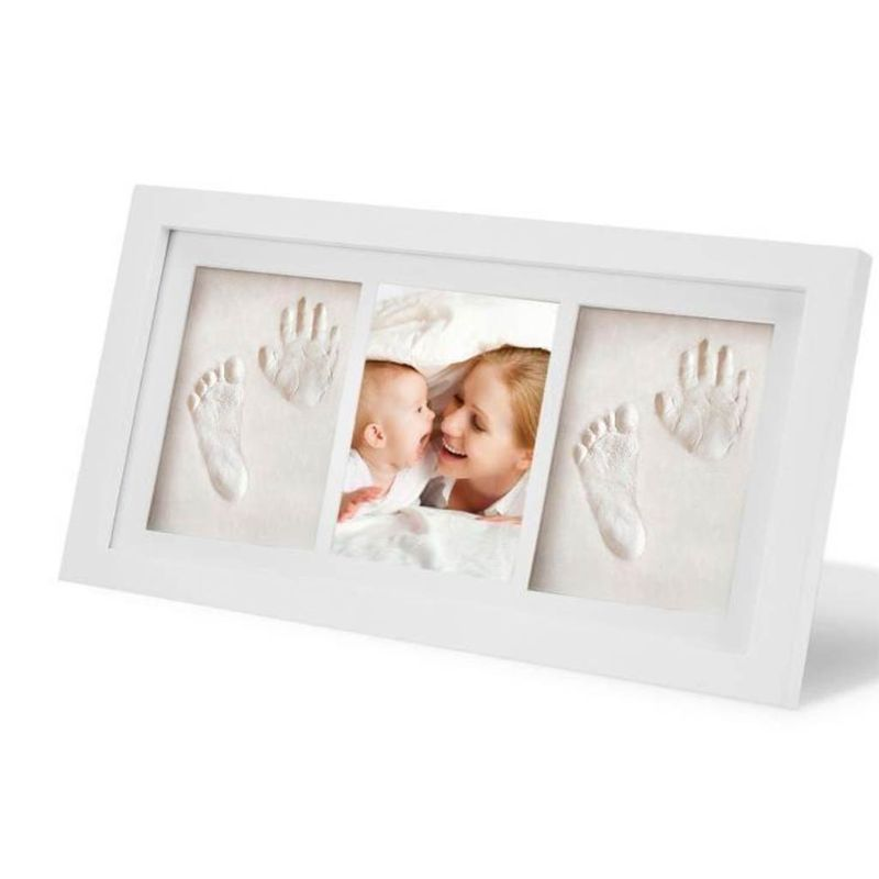 Baby Kid Children Foot Finger Hand Wooden Photo Frame Set Print Clay Ink Kit Gift Memory