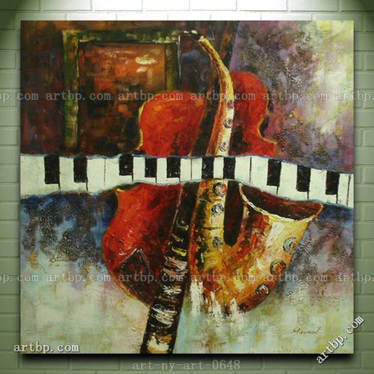 Contemporary Oil Painting Of Musical Instruments Cello