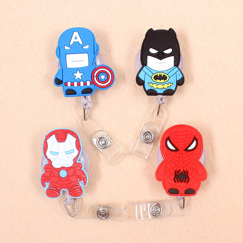 1pcs Ironman Batman Retractable Badge Reel Student Nurse Horizontal Type Exhibition ID Name Card Badge Holder Office Supplies
