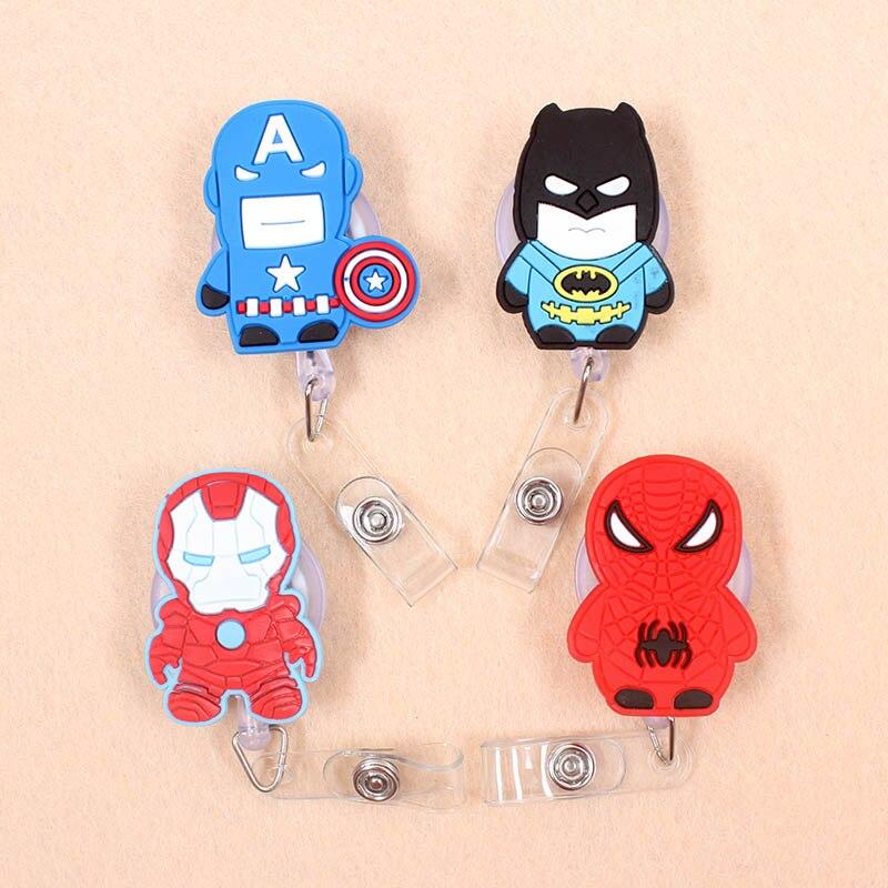 1pcs Ironman Batman Retractable Badge Reel Student Nurse Horizontal Type Exhibition ID Name Card Badge Holder Office Supplies
