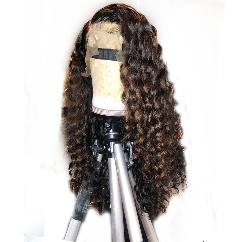 Highlight Brown Honey Blonde Ombre Human Hair Wig Full End 360 Water Wave Lace Frontal Wig Brazilian Remy Wig For Black Women