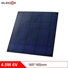 лучшая цена ELEGEEK 4.5W Monocrystalline Silicon Solar Cell Panel 750mA DIY Solar Panel Module 6V for Mini Solar System Test PET 165*165mm