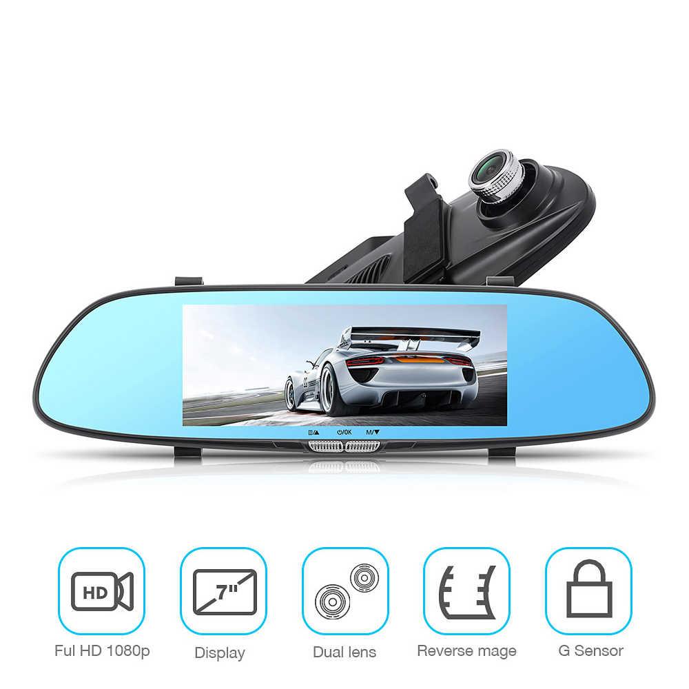 Умный Автомобильный видеорегистратор с объективом Daul, Автомобильный видеорегистратор Full HD 1080 P, 7 дюймов, сенсорный экран, зеркало заднего вида, видеорегистратор, Русская версия