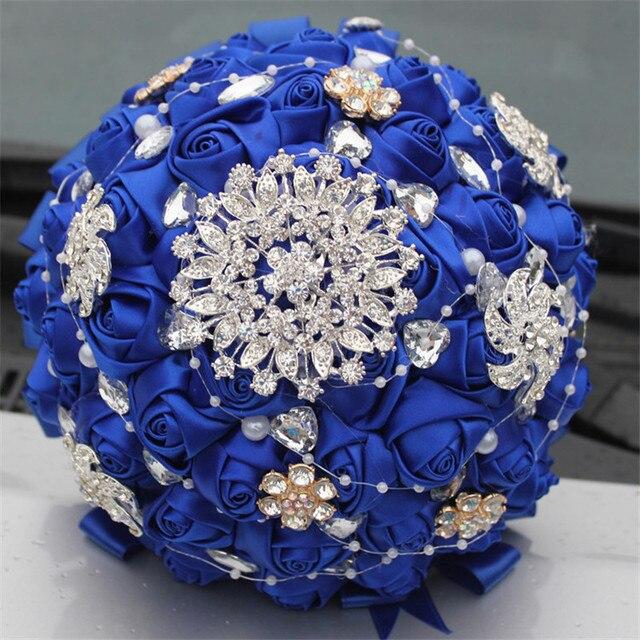 Diy Wedding Bouquets Ideas: Bridal Wedding Bouquet Royal Blue Satin Rose Flower