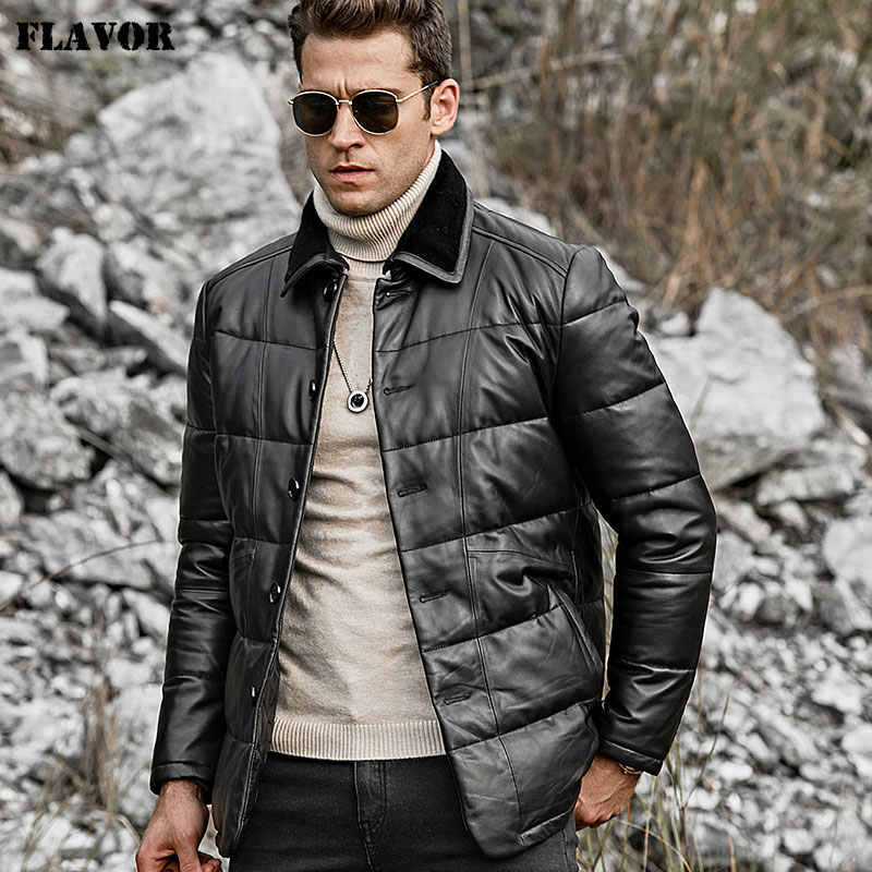 FLAVOR Men's Real Leather Down Jacket Men Genuine Lambskin Winter Warm Leather Coat with Turn down Sheep Fur Collar