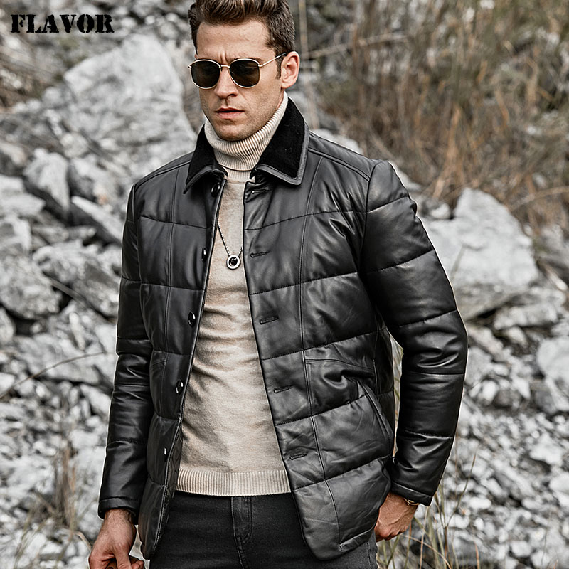 FLAVOR Men's Real Leather Down Jacket Men Genuine Lambskin Winter Warm Leather Coat with Turn down Sheep Fur Collar-in Genuine Leather Coats from Men's Clothing