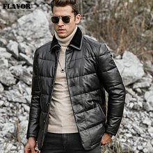 FLAVOR Mens Real Leather Down Jacket Men Genuine Lambskin Winter Warm Leather Coat with Turn down Sheep Fur Collar