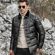 Kожаная куртка мужская пальто из настоящей шкуры ягненка FLAVOR, теплый пуховик из натуральной кожи с отложным воротником из овеьчего меха для зимы