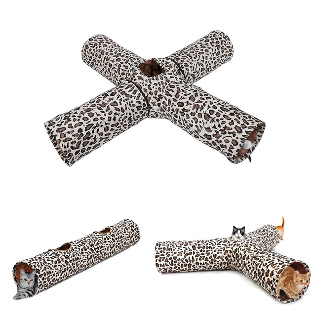New Design Outdoor Foldable 4 Holes Multifunctional Leopard Print Long Cat Tunnel Collapsible Tunnel Toys Play For Cat