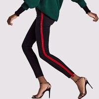 Spring Fashion Women Jeans Red Velvet Side Track Stripes Stretchy High Waisted Pencil Denim Pants