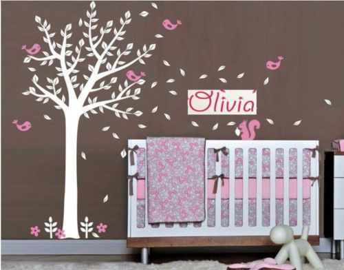где купить Custom Personalised Name Birds squirrel Tree Branches Vinyl Wall Stickers Baby Wall Decals Nursery Wallpaper For Kids Room по лучшей цене