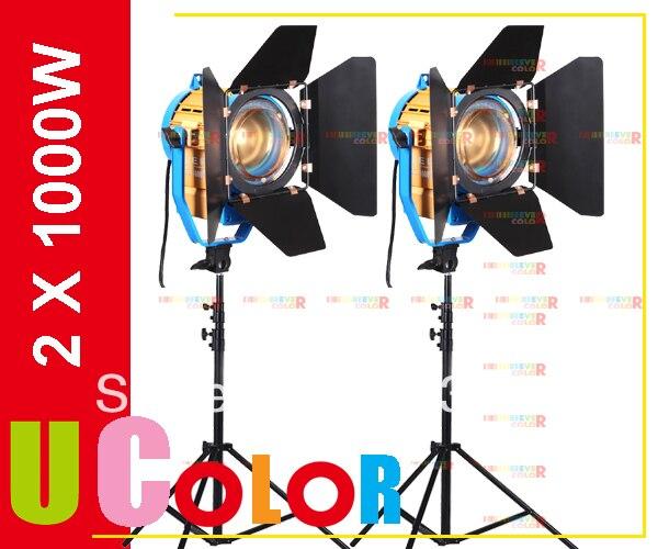2 X 1000W LED Studio Fresnel Tungsten Spot Light with 3200K - 5500K Dichroic Filter Lighting Kit + Stand