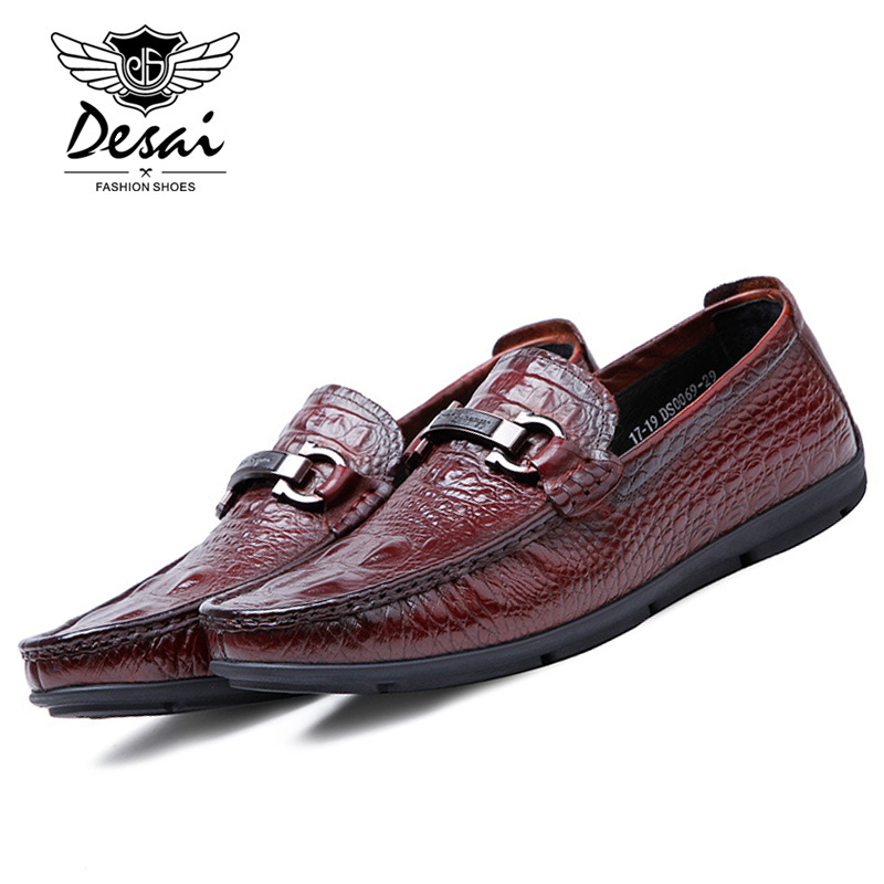 DESAI 2017 New Fashion Burgundy Italian Loafers Men's Brand Casual Office Shoes Genuine Leather Flat Slip-on Lazy Shoe DS0069 desai brand italian style full grain leather crocodile design men loafers comfortable slip on moccasin driving shoes size 38 43