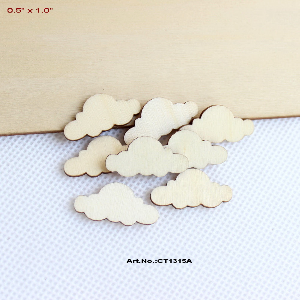 (50pcs/lot) 25mm Blank Unfinished Wood Cloud Rustic Baby's Nursery Party 1