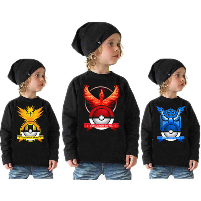 World's Hot Mobile Game Pokemon Go Printed Cotton Tee Shirt Pokemon Boys T shirt  Boys Long Sleeve Shirt Pokemon Shirt Kids