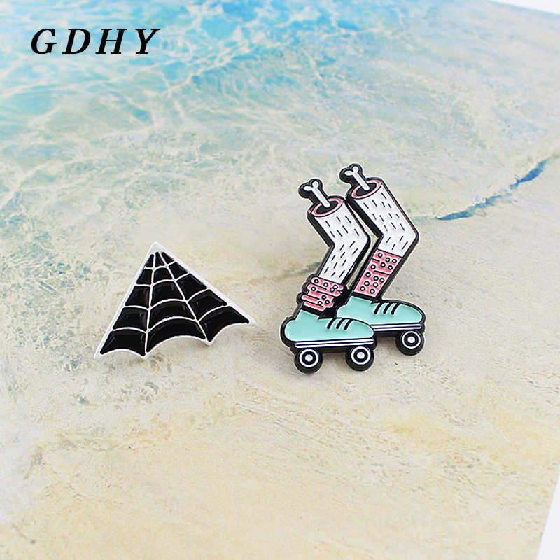 GDHY Brooch Zombie Skeleton Leg Skates Triangle Black Spider web Enamel pin Green Roller skates Pink Socks Spider web Badge pins