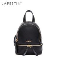LAFESTIN Leather Backpack Mini Women Canvas Zipper Style Backpack Girls School Bags Genuine Leather Back Backpack
