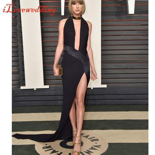 Custom Made 2016 88th Oscar Academy Awards preto Evening vestidos de festa Halter Side dividir elegantes ocasião Formal mulheres vestidos